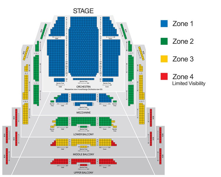 Comedy & Concert Price Zones